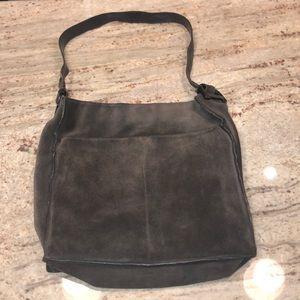 Authentic grey suede Gucci shoulder bag